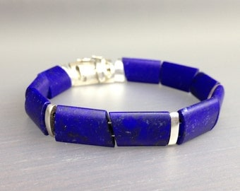 Modern Lapis Lazuli bracelet with Sterling silver elements - best quality stone
