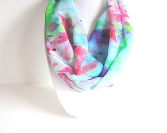 Infinity Scarf, Floral Print Scarf, Lightweight Scarf, Chiffon Scarf, Watercolor Scarf, Digital Print Scarf, Boho Chic, Gift For Her