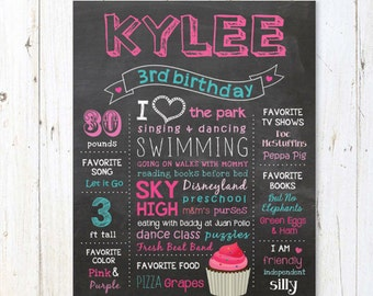 Third Birthday Chalkboard sign printable - Custom Hot pink 3rd birthday chalkboard sign cupcake theme - DIGITAL FILE!