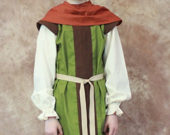 Boys Medieval Renaissance Huntsman Tunic and Hood/Cowl--MADE TO ORDER--Gunther