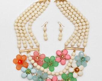 ON SALE Statement Flower beaded Necklace, Bib Necklace, Multi strands, Beadwork, gift idea.