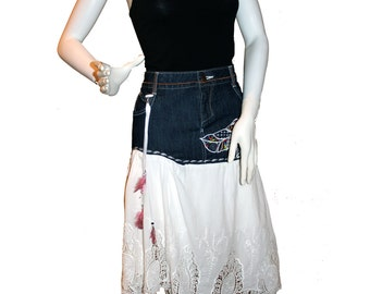 Altered Jean Skirt, Upcycled Denim Skirt, Eco-Friendly Clothing