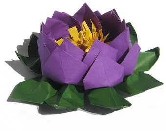 Deep Purple Wedding Flower Centerpiece, Lotus Paper Flower,  Water Lily,  Origami Lotus for Wedding Table Setting, Home and Party Decor