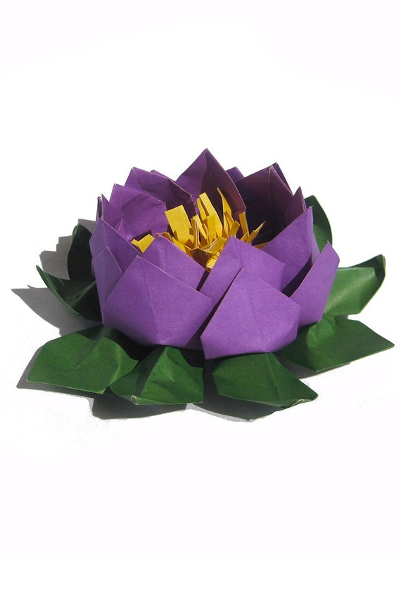 Deep purple wedding flower centerpiece lotus paper