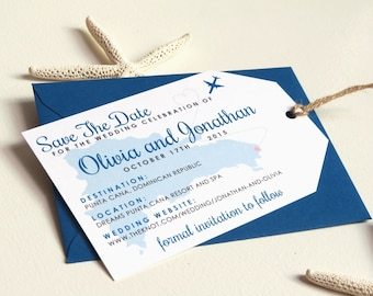 Printable Luggage Tag Save The Dates for Destination Wedding (Beach, Resort, Travel)