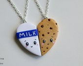 Cookies and Milk Friendship Necklaces or Keyrings