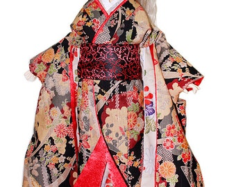 BJDs Clothing-Floral Night Kimono for 1/3 size doll