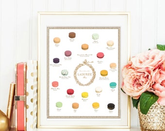 Macaron Laduree Flavors Menu Painted art. Luxury treats and desserts. Beautiful high fashion wall art. Modern Home Décor.