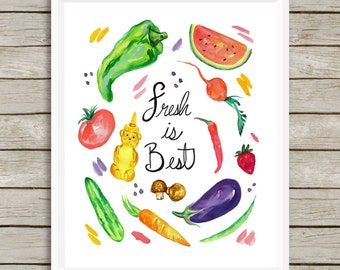 Food Print, Eat Local, Kitchen Art, Foodie, Watercolor Print, Home Decor, Vegetable Art Print, Kitchen Wall Art, Fruity Decor, Vegan