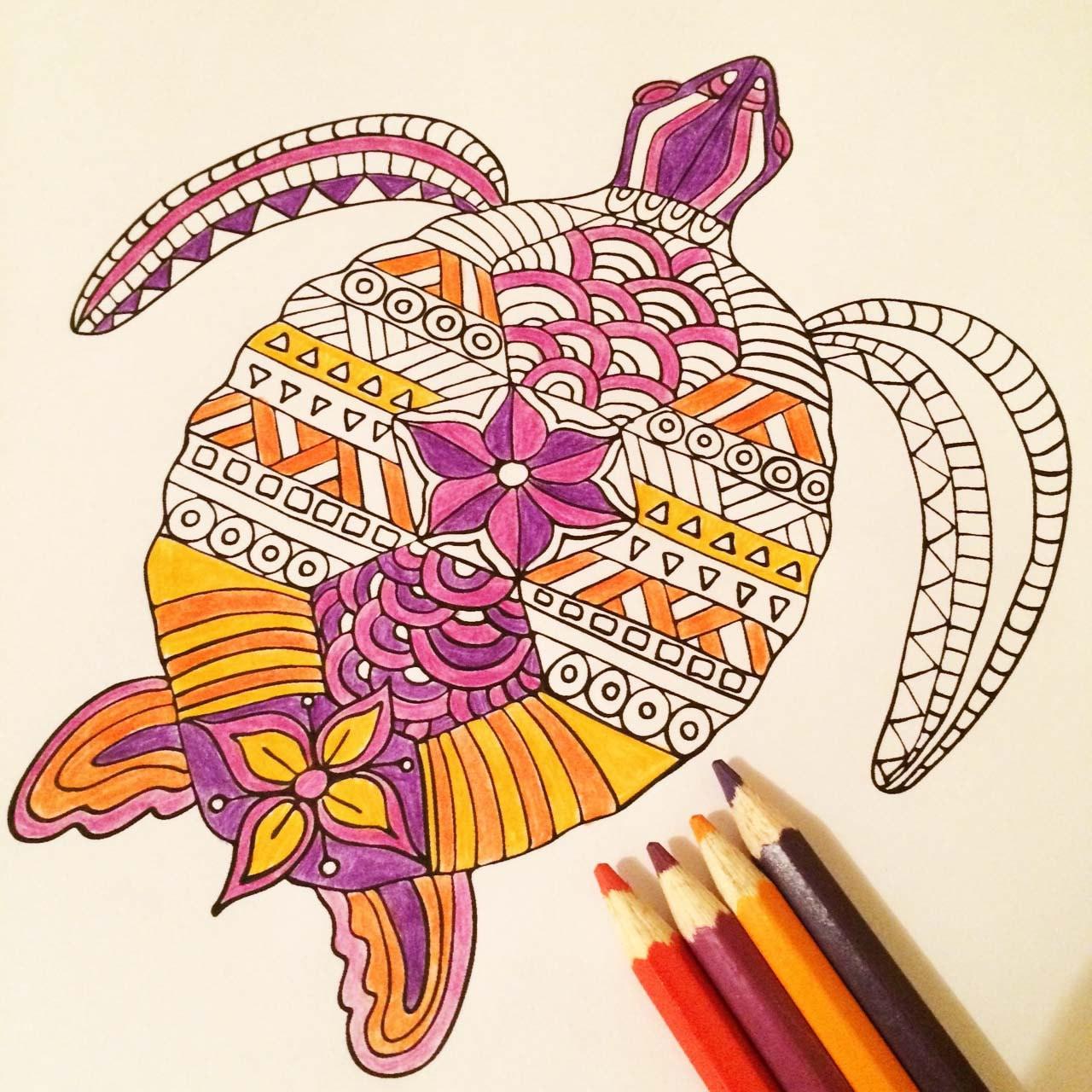 Printable Sea turtle zentangle digital colouring page