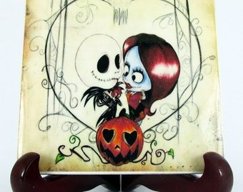 The Nightmare before Christmas collectible ceramic tile Jack Skellington and Sally Kawaii lovers heart mod. 115