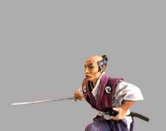 Medieval Action Figurines Japanese 1/32 Scale Samurai in Civil Clothes Hand Painted Tin Soldier 54mm Tin Miniatures