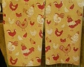2 Vintage Look Cotton/Linen Tea Towels with Red/White Chicken pictures on Yellow Gold background fabric