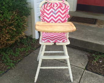 Wooden Highchair: Hot Pink Chevron Cushion/Cover/Pad for wooden/vintage highchairs.  Removable foam.  Optional monogramming.