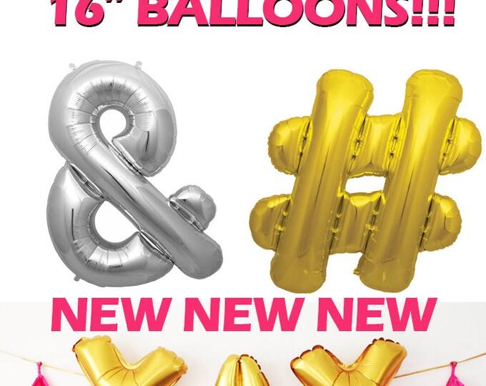 AMPERSAND Balloon, HASHTAG Balloon, Rose gold Hadtag Rose gold hashtag Gold or Silver Foil Letter Balloon, spell WORD, Foil letter balloon