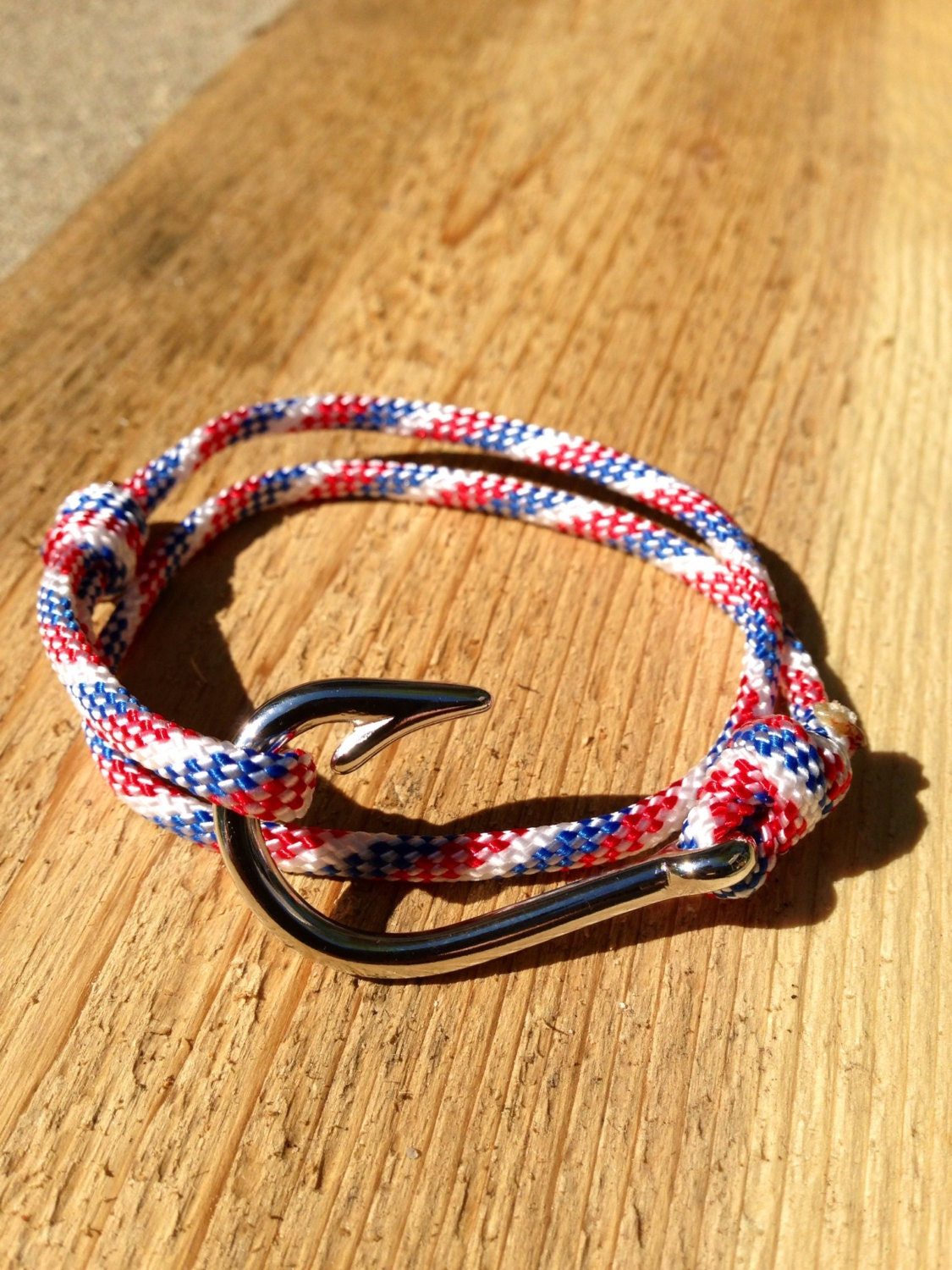 Red white and blue paracord silver fish hook bracelet by for Fish hook paracord bracelet