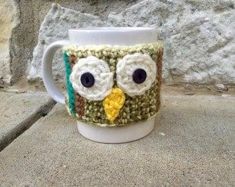Crocheted owl mug cozy customizable many colors