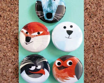 "Set of 5 Animal Badges ""Winter Is Coming"" 32mmØ"