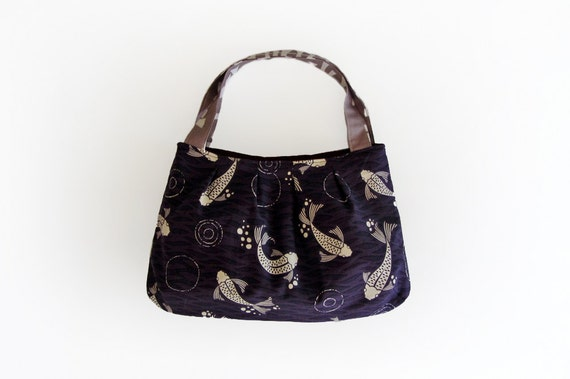 koi fish bag fabric purse small tote bag purple by
