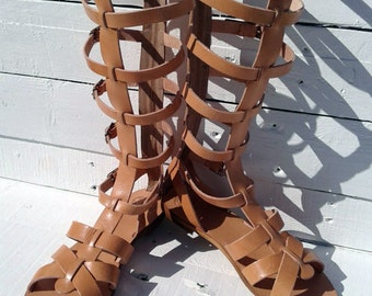 Handmade Leather Knee-High Gladiator Sandals,boot sandals, high sandals
