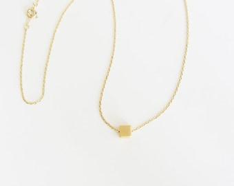 Square pendant necklace/ silver square pendant necklace/geometric necklace/minimalist necklace