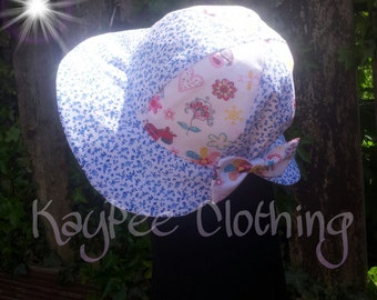 Cute baby bonnet, childs sunhat, baby sunhat, girls bonnet, baby girls sunhat, bow, flowers, gift, easter present, instock, made to order