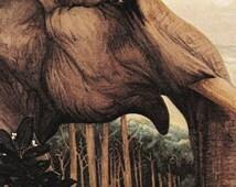 vintage Jungle Book illustration victorian Julius Detmold Kipling Elephant Toomai book plate 1903