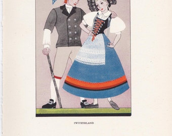Swiss traditional dress Switzerland Kathleen Mann peasant costume vintage book plate swiss folklore Europe