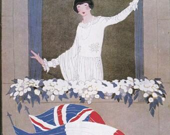 Vogue Magazine Cover 1918 war patriotism flags art deco art nouveau home decor print fine art