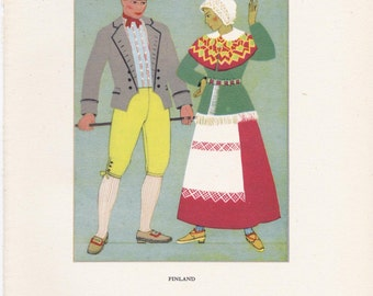 Finland Finnish traditional dress peasant costume Kathleen Mann vintage book plate scandinavian nordic folklore Europe