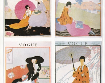 Vogue Magazine Cover oriental fashion art deco art nouveau home decor print fine art fashion vintage 8.5 x 11.5 inches