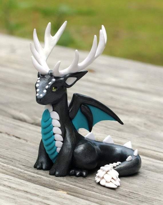 Graphite Pearl Teal And White Antlered Dragon Sculpture