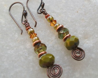 Avocado Green Czech Glass & Copper Earrings; Handcrafted and Unique; UK Seller;
