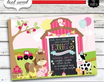 Printable Girly Farm Birthday Invitation - Farm Animal, Barnyard theme