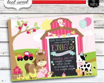 Printable Girly Farm Birthday Invitation - Farm Animal, Barnyard theme
