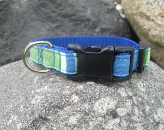 Striped XS Dog Collar, blue, green, canvas, dog collar for boy, preppy stripes, extra small dog collar