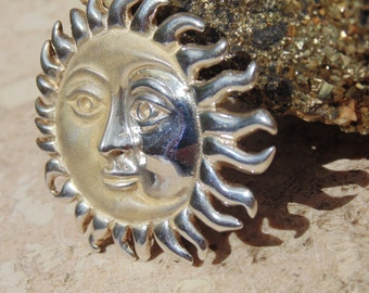 D'Molina ~ Vintage Mexican Sterling Sun / Moon Brooch / Pendant