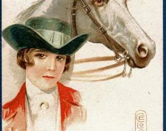 1907 E Colombo Signed Girl & Horse Postcard