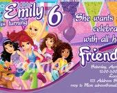 Fun and Bright Lego Friends Birthday Invitation