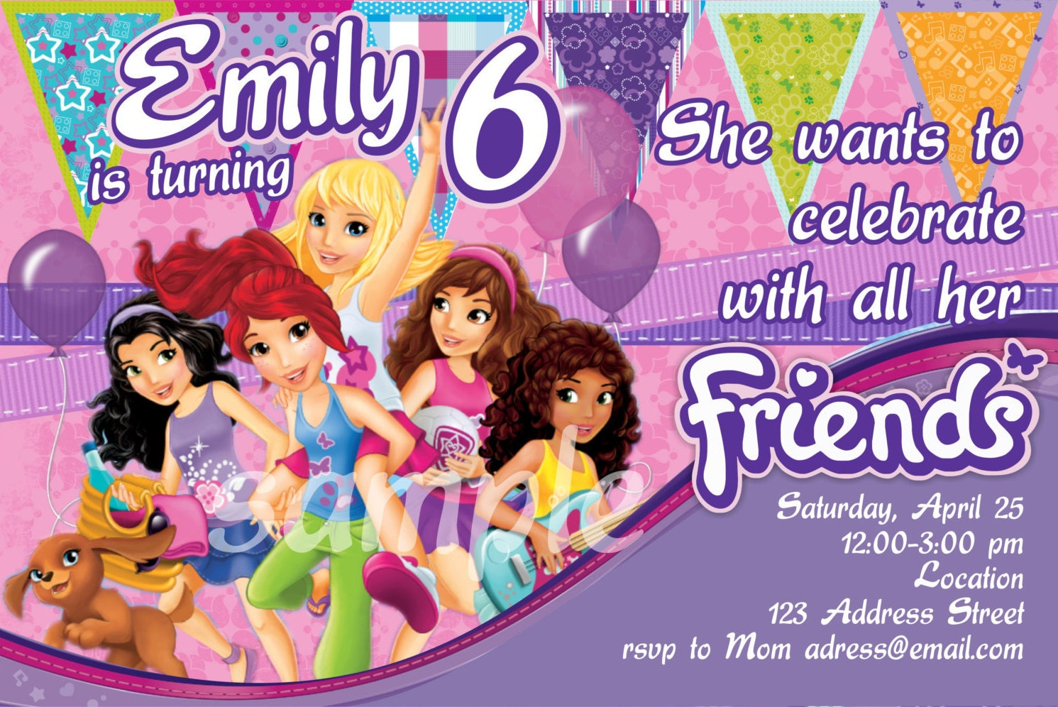 Fun and Bright Lego Friends Birthday Invitation – Lego Birthday Invitations Free