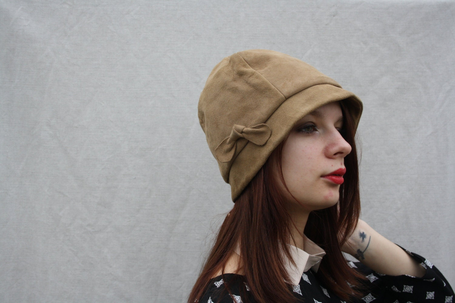 vintage cloche hat womens light brown leather hat suede hat
