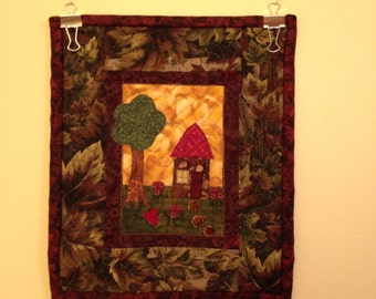 Mixed Media Little Village #1 Free Motion Quilt Wall Hanging