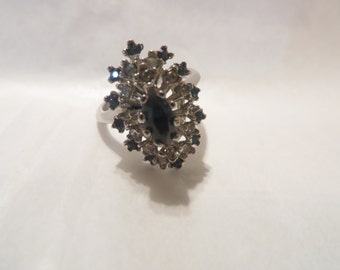 Vintage Rhinestone / 18K H.G.E Plated Cluster Ring