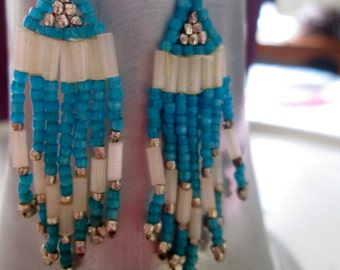 Aqua and White Beaded Chandelier Earrings