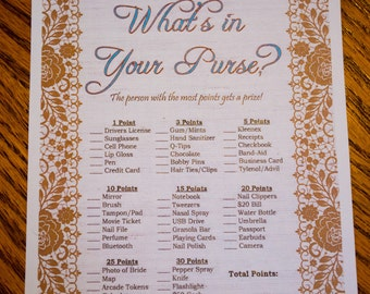 Rustic What's in Your Purse Burlap & Lace Game