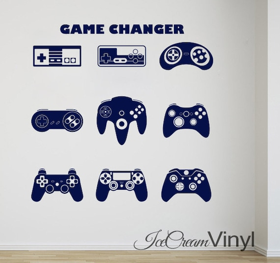 Gamer Wall Decal Video Controllers Sticker Decor Man Cave Birthday Gift