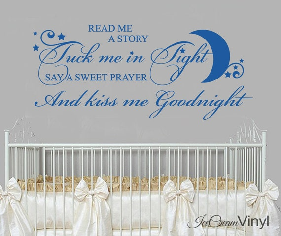 Nursery Rhyme Wall Decal Read Me A Story Tuck Me In Tight Girls Boys Bedroom Decor