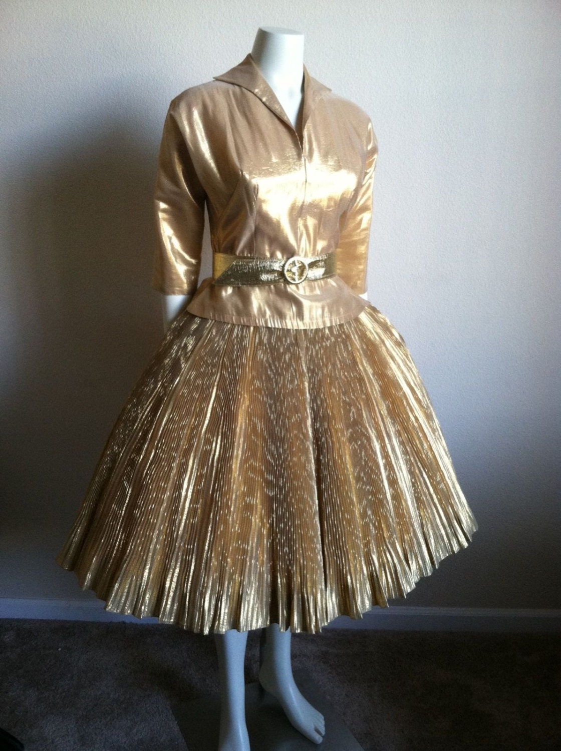 vintage 50s new look gold lame fitted blouse pleated