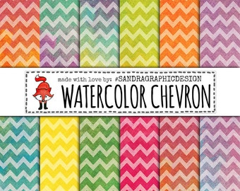 Chevron digital paper with watercolor and ombre effects, with chevron pattern (1256)