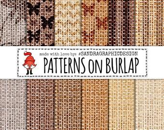"""Burlap digital paper: """"PATTERNS on BURLAP"""" with burlap backgrounds, burlap texture,  (1099)"""